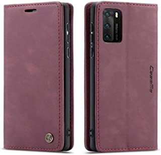 Flip Leather Case For Huawei P40 PRO From CaseMe,Cover Leather case (Burgundy)