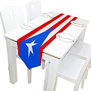 poeticcity Puerto Rico Flag Double Sided Oblong 13 X 70 inches Table Runner for Wedding Dining Room Kitchen Table Cloth Home Decor