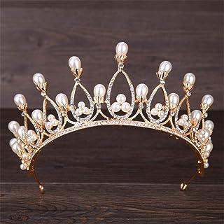 FELICILII Copricapo da Sposa con Corona di Perle Copricapo da Sposa Copricapo da Sposa Compleanno Banchetto Gioielli Diade...