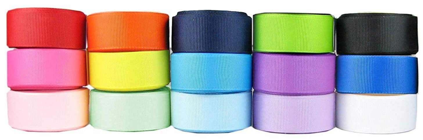 Q-YO Grosgrain/Satin Ribbon Combo for Crafts Gift Package Wrapping, Hair Bow Clips & Accessories Making, Sewing, Wedding Decor ((15x5yd) 7/8