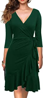Women's Classic 3/4 Sleeve V-Neck Knee-Length Sheath Ruffle Cocktail Work Black Faux Wrap Dress