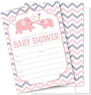 Pink Elephant Baby Shower Invitations - 25 High Quality Elephant Theme Invitations with Envelopes for Girl Birthday, Baby Shower by Partygraphix