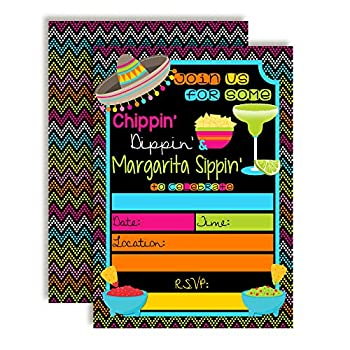 Chips Dips and Margarita Sips Birthday Party Invitations 20 5 x7  Fill in Cards with 20 White Envelopes by AmandaCreation