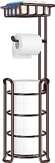 TomCare Toilet Paper Holder Toilet Paper Stand 4 Raised Feet Bathroom Accessories Portable Tissue Paper Dispenser Reserve ...