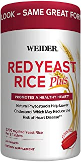 Weider Red Yeast Rice Plus with Phytosterols 1200 mg per 2 Tablets - Larger Size pack of 240 Tablets ICH#I