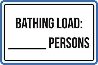 iCandy Products Inc Bathing Load:-Persons Pool Spa Warning Large Sign, Plastic, 12x18