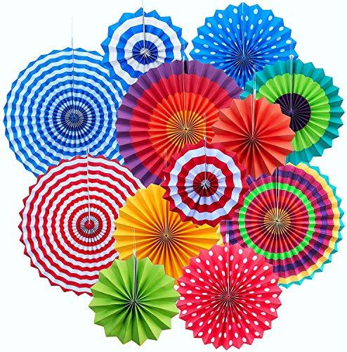 Decoración Abanicos de Papel,12 Piezas Abanicos de Papel Multicolor Decoración para Cumpleaños Boda Carnaval Bebé Ducha Fiesta Suministros