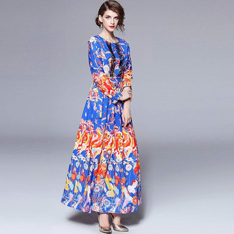 Cxlyq Dresses Printed to Receive Waist Round Neck Long Sleeve Long Skirt Dress Female