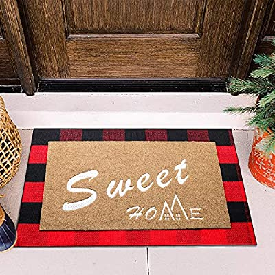 Anzid Front Door Mat Set of 2 Welcome Outdoor Doormats with Durable Non Slip Rubber DirtsTrapper Mat Backing +Buffalo Plaid Rug Entrance Door Rug Shoes Scraper Machine Washable Inside Rug