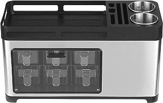 Walmeck Support de rangement multifonctionnel pour épices de cuisine en acier inoxydable avec bocaux d'assaisonnement Boît...