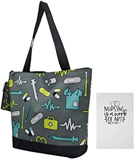 Nursing Tote Bag for Women Healthcare Workers | Includes 2 Items - Canvas Tote with Change Purse and 100-page Lined Journal