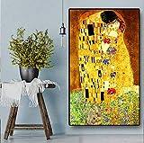 N / A Quadri Senza Cornice Quadri su Tela Figure Famose Che baciano Decorazioni per la casa Stampate su Tela Wall artZGQ9349 20x28cm