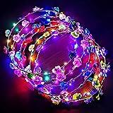 Phiraggit LED Ghirlanda Fiori, 10 LED copricapo fiore incandescente scuro, acconciatura fiore luminoso matrimonio Halloween Forniture per feste incandescenti di Natale (colore casuale)