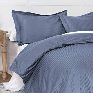 Duvet Cover Indigo Blue Queen, Classic Damask Pinstripe Pattern, 100% Long Staple Cotton 400TC with Silky & luxury Sateen Woven, Cool & Breathable, Luxury Hotel Style Clean Look Duvet Cover