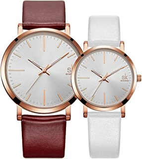 SK SHENGKE Ladies Watches Round Women Watches on Sale Leather Band Small Quartz Analog Fashion Watches
