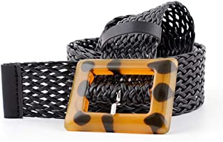 MYCHOMEUU New pu Woven Wide Belt Women's Fashion Wild spot Leopard Yellow Buckle Decorative Belt (Color : Black, Size : 110 * 3.8cm)