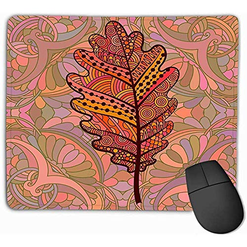 Muis Pad Oranje Decoratieve Eiken Blad Sjabloon Decoreren Wenskaarten Kleurplaten Boeken Art Therapie Anti Stress Print Rechthoek Rubber Mousepad 30X25CM