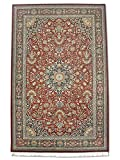 Pak Persian Rugs Alfombra Tradicional Persa Hecha a Mano Kashan de Lana/Seda (Highlights), Rojo, 140 x 218 cm, 1,22 m x 1,82 m (ft)