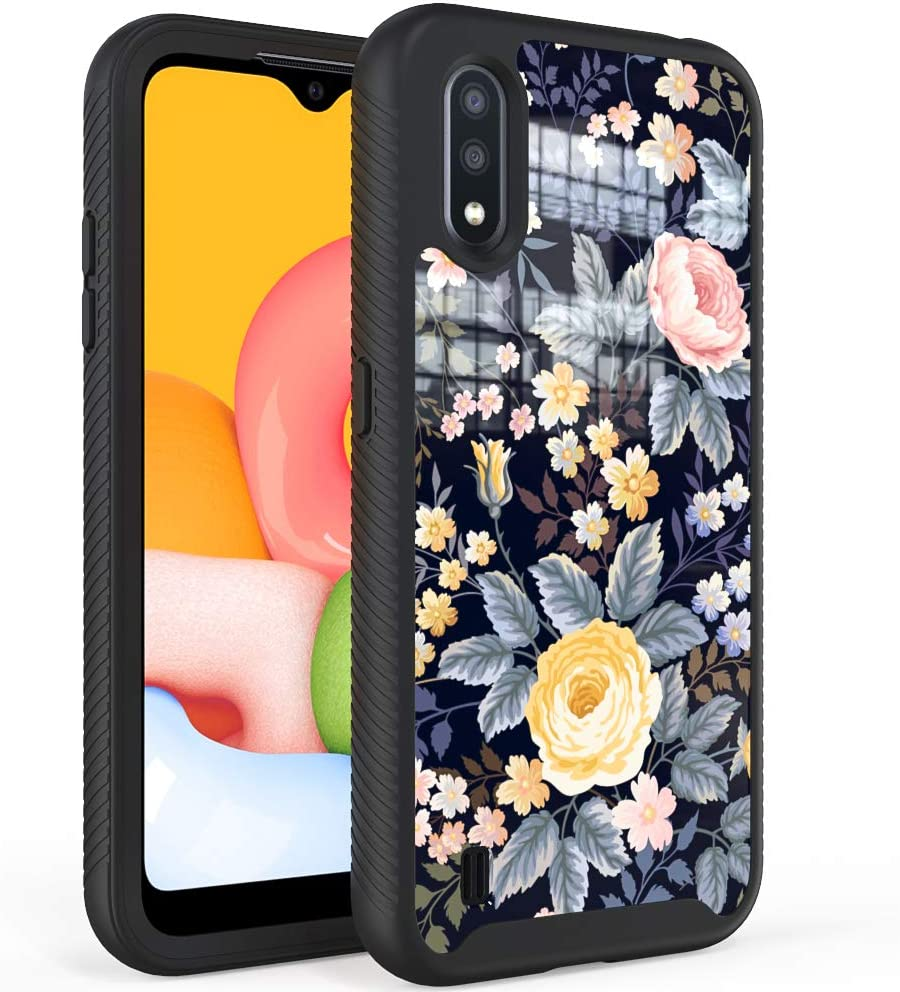 WOGROO Samsung Galaxy A01 Case,Fashion Cute Floral Pattern for Girls and Women,Hybrid Full Body Protective Soft TPU Bumper Shockproof Phone Cover Case for Galaxy A01, Rose