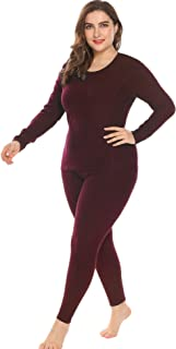 IN'VOLAND Women's Plus Size Thermal Underwear Fleece Lined Long Johns Set Winter Top&Pants Pajama