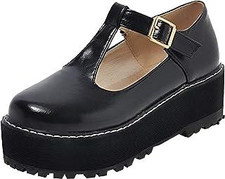 ZOWMUW Women's T-Strap Lolita Platform Mary Jane Shoes