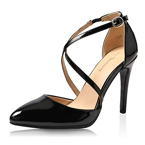 10cf385dcc06 Yeviavy High Heels for Women Pumps Dress Pointed Toe Shoes Strappy Stiletto  Buckle Closure D
