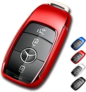 Mercedes Benz Key Fob Cover,Soft TPU Premium and Fashion Appearance Key Case Cover for Mercedes Benz E Class, 2018 up S Class, 2017 2018 W213 Keyless Smart Key (Benz Key Fob Cover-Red)