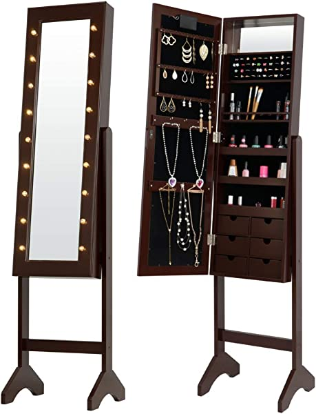 Fineboard FB JC09 BN LED Jewelry Cabinet Organizer With Front Mirror And 6 Small Drawers Brown