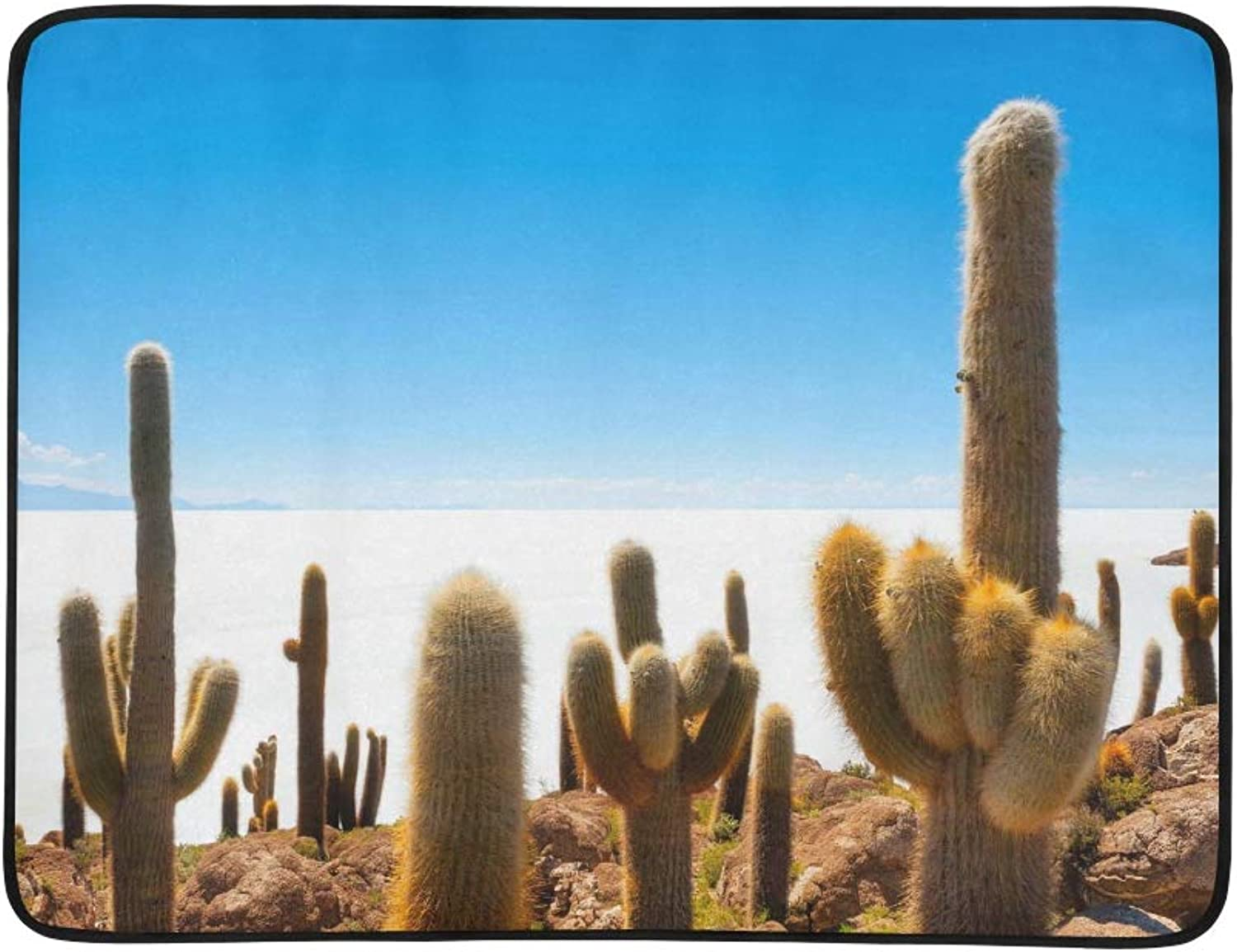 Big Cactus On Incahuasi Island Salt Flat Salar De Pattern Portable and Foldable Blanket Mat 60x78 Inch Handy Mat for Camping Picnic Beach Indoor Outdoor Travel