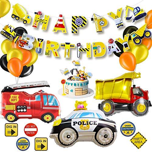 PushingBest Geburtstagsdeko, Geburtstag Party Dekoration für Kinder, Happy Birthday Girlande Baufahrzeug Feuer Auto Polizeiauto Folienballons, Verkehrsschild Aufklebe und Kuchen Topper