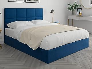 HOMIFAB Lit Adulte 160x200cm en Velours Bleu Nuit avec tête de lit carrée capitonnée et sommier à Lattes - Collection Emy