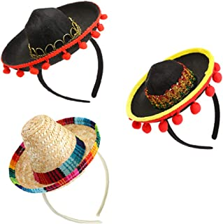 3 Packs Cinco de Mayo Fiesta Fabric and Straw Sombrero Headbands Set- Mexican Fiesta Party Hat Decorations- One Size Fits All