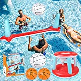 """Pool Floats Toys, Inflatable Pool Volleyball Set & 3 Balls with Basketball Hoops Party Swimming Game Toy for Kids and Adults, Floating Water Play Gift Summer Floaties, Volleyball Net (115""""x30""""x37"""")"""