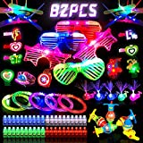 82PCs LED Light Up Party Favors,Glow in the Dark Party Supplies for Kids/Adults,With 5 Glasses,40 Finger Lights,12 Bamboo Dragonflies,5 Bracelets,5 Whale Lights,5 Wrist Strap,5 Spinning Tops,5 Hairpin