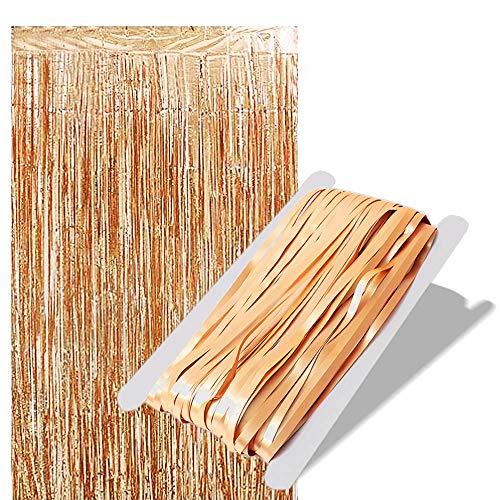 sinzau Lametta Vorhänge, Folie Fransen Vorhänge, zur Tür- und Fensterdekoration, 2 Stück, Gold