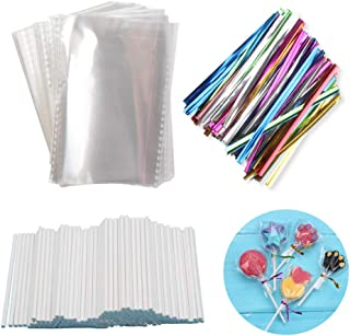 BAKER DEPOT 200 Pcs 3.93X2.96-Inch Opp Bags with 200 Pcs 3.15-Inch Twist Ties Mix Colors 200 Pcs Eco-friendly 3.93-Inch Paper Stick for Lollipop Candy Cake Pop Chocolate Cookie DIY Homemade Candy