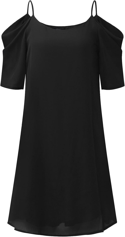 ZANZEA Womens Cold Shoulder Dress Sexy Summer Casual Chiffon Spaghetti Strap Short Beach Sundress