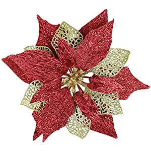 YOSICHY Christmas Tree Ornaments Poinsettia Flowers