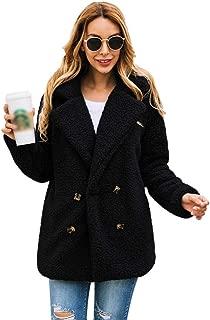 DUBUK Womens Open Front Fuzzy Fleece Cardigan Fleece Jacket Coat Long Sleeve Lapel Faux Shearling Shaggy Coat Outwear