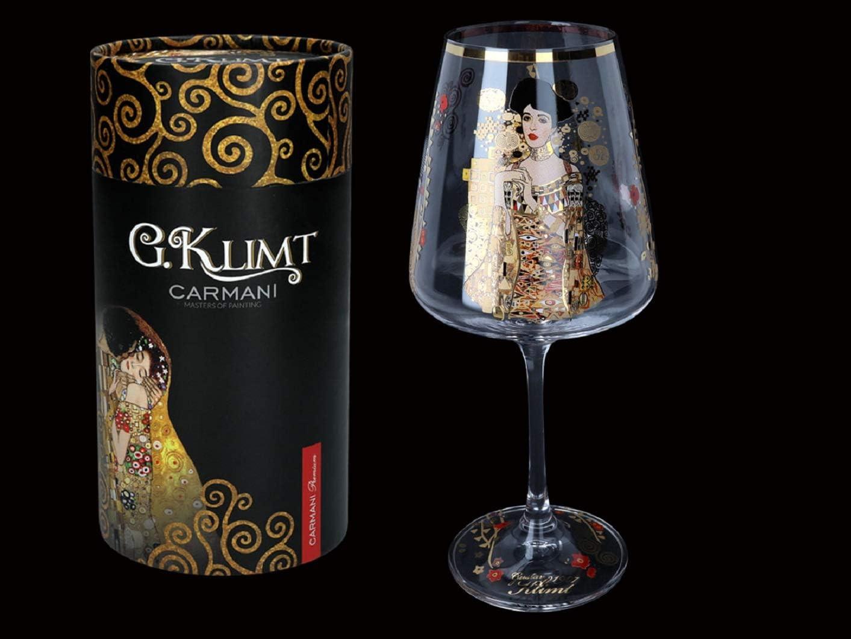 Carmani 15 oz Elegant Wine Glass 'Adela' by Gustav Klimt EA latest