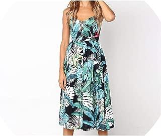 QianQianStore Boho Style Beach Dress Floral Print Casual Summer Dress Plus Size Buttons Strapless Sexy Dress