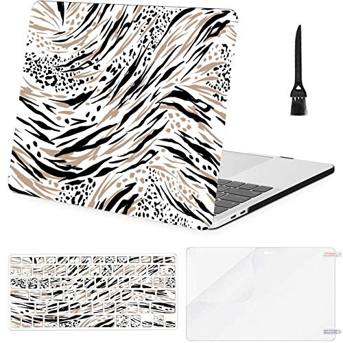 MacBook Pro 13inch (2016-2019) with Touch BarA1706,A1989,A1989 Case,Plastic Animal Skin Tiger Cheetahlepard Safari Mood Hard Shell Case with Keyboard Cover & Screen Protector & Cleaning Brush