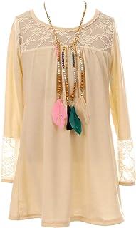 BNY Corner Big Girl Long Sleeve Floral Lace Easter Necklace Blouse T-Shirt Top Shirt Kids Ivory 8 JKS 2155