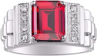 RYLOS Mens Rings Sterling Silver Designer Style 10X8MM Emerald Cut Shape Gemstone & Genuine Sparkle Diamonds Color Birthst...