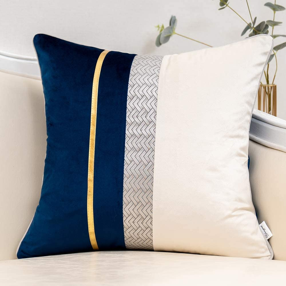 Yangest Gifts Navy Blue Patchwork Velvet Throw Cover SALENEW very popular with Pillow Gold