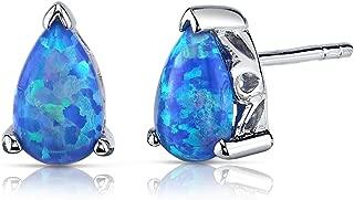 Created Blue-Green Opal Stud Earrings Sterling Silver Pear Shape 1.50 Carats