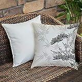 Dekokissen Kissenhülle,Japanische, asiatische Art Bambus Birke und Blume Twiggy Blütenblätter...