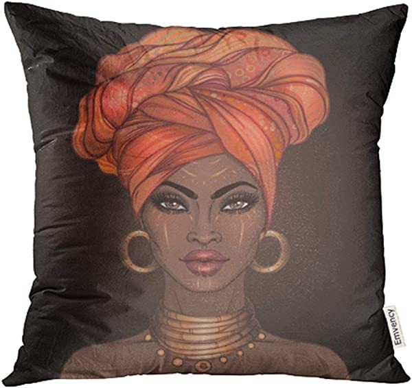 Emvency Throw Pillow Covers Decorative Cases African American Pretty Girl Of Black Woman With Glossy Lips And Turban Great 20x20 Inch Cover Cushion Pillowcase Square Case Print