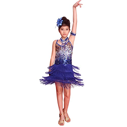 Marvelous ESHOO Girls Kids Sequined Latin Salsa Tassel Dancewear Dancing Dress Costume