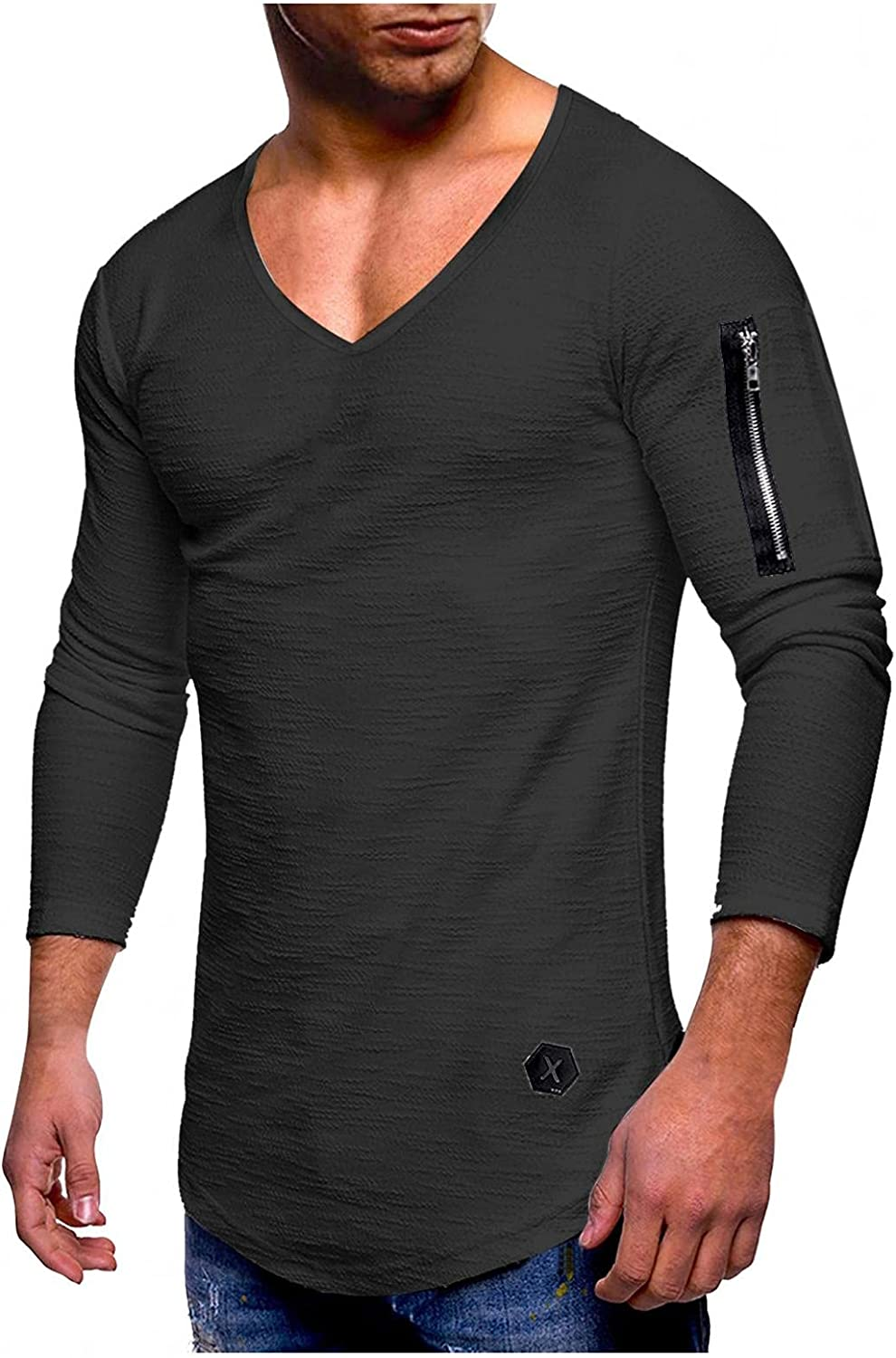 Huangse Men's Long Sleeve Tee Shirt Solid Color Slim Fit Casual V Neck T Shirts Novelty Street Sleeve Side Zipper Tee Shirts